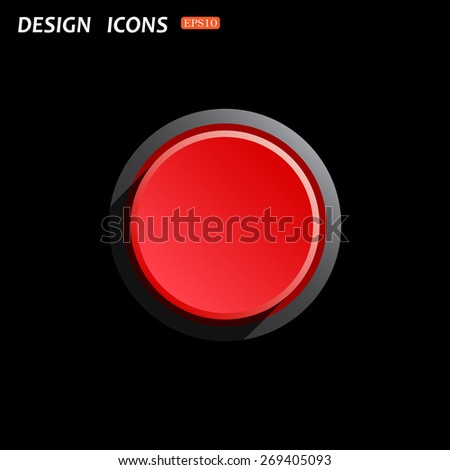 Red button start, stop. icon. vector design