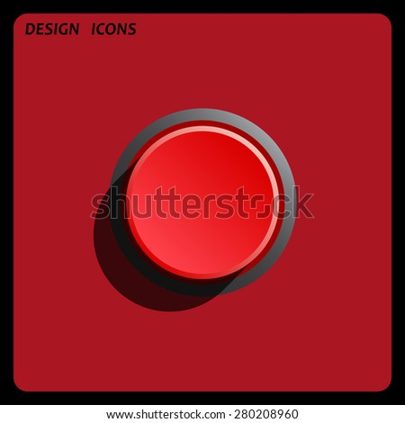 Red button start, stop. icon. vector design. Flat design style  - stock vector
