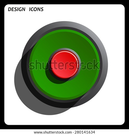 Red button start, stop. icon. vector design Green Start button, forward, to continue. Flat design style. - stock vector