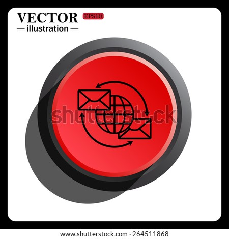 Red button start, stop. Internet e-mail, envelope letter, Globe, icon, vector illustration. Flat design style  - stock vector