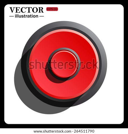 Red button start, stop. Red button start, stop, icon, vector illustration. Flat design style  - stock vector