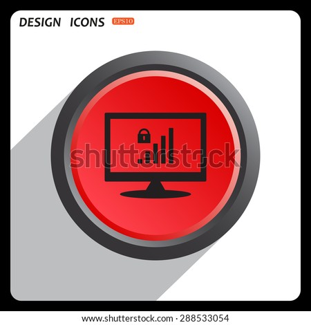 Red button start, stop. signal strength indicator, closed access icon. vector design - stock vector