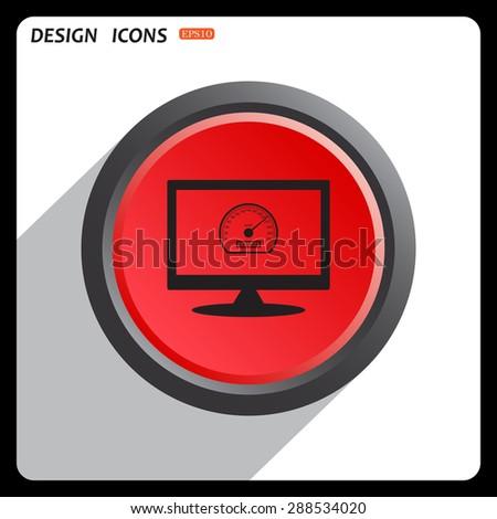Red button start, stop. speedometer icon. vector design - stock vector