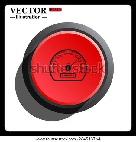 Red button start, stop. speedometer, icon, vector illustration. Flat design style  - stock vector