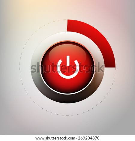 Red button - vector illustration - stock vector