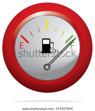 Red button with fuel gauge. Isolated icon vector.