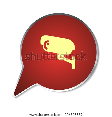 Red button with shadow. Vector icon