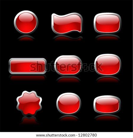Red buttons set on black background
