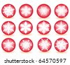 red buttons with snowflakes on a white background - stock vector