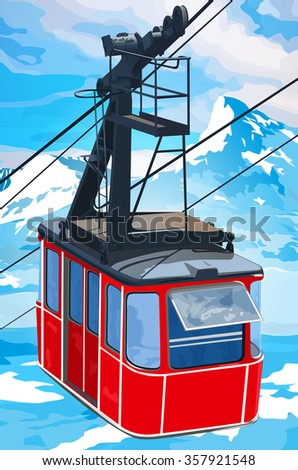 Red cableway in high mountains at winter season. - stock vector