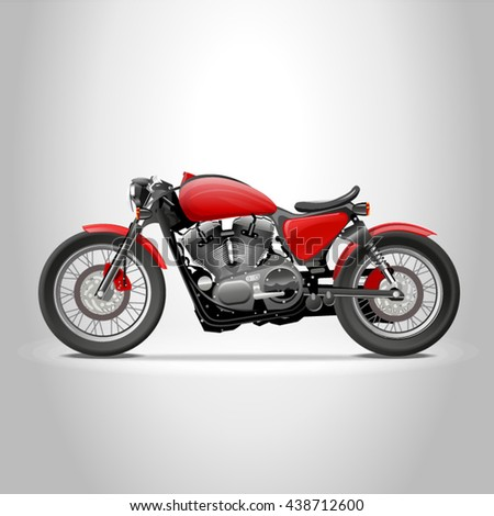 Red cafe racer motorcycle bike in profile, vector photorealistic 3d illustration isolated on white background