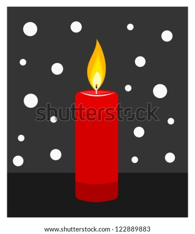 Red candle burning in darkness. Vector illustration