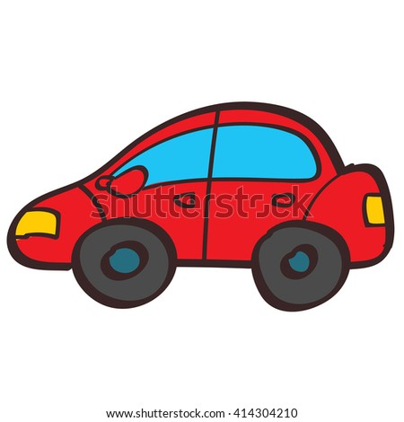 Red car color illustration in hand drawing style.