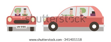 Red car front and side, driver and passenger, flat design, vector cartoon illustration