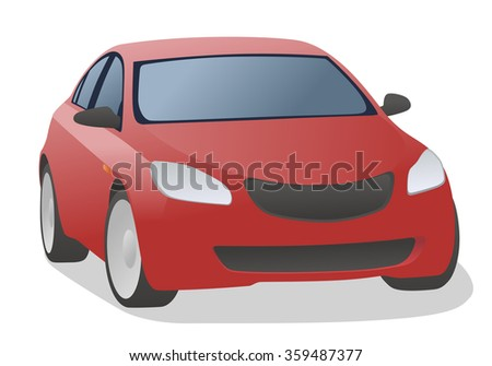 red car, front view, vector illustration