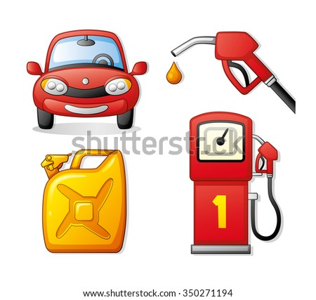 Red car, gasoline pump nozzle and a yellow jerrycan. Fueling set. - stock vector