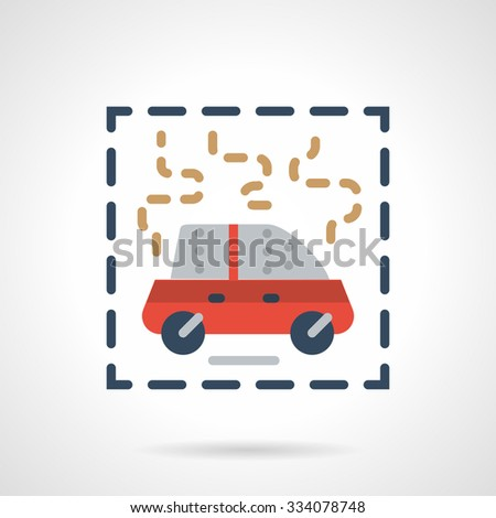 Red car on fire or smoke. Auto insurance cases. Abstract flat color style vector icon.  Single design elements for website, mobile and business.  - stock vector