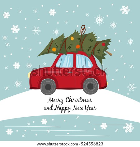 Red Car Christmas Tree On Winter Stock Vector 524556823 Shutterstock - Christmas Tree On Car