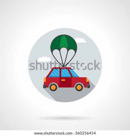 Red car with green parachute in a sky. Automobile delivery, insurance of car body. Round flat color style vector icon. Single web design element for mobile app or website. - stock vector