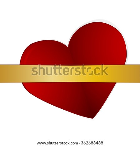 Red card  with raying and hearts. Vector element for your design - stock vector