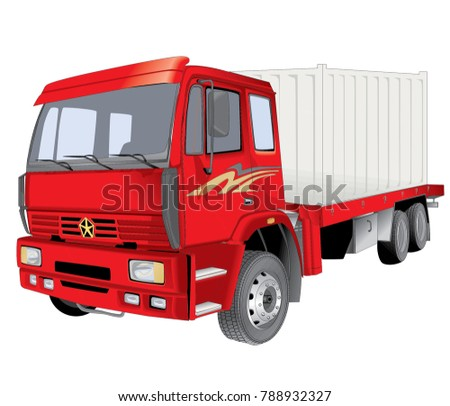 Red Cargo Delivery, work Truck