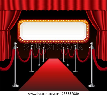 Red carpet movie premiere elegant event red curtain theater and billboard banner - stock vector