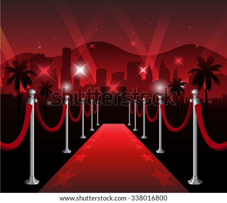 Red carpet movie premiere elegant event with hollywood in background - stock vector