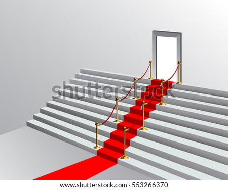 Red carpet on a stairway with gold stanchions leading to a doorway