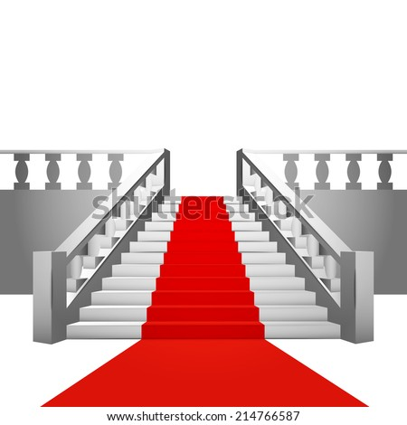 red carpet on baroque staircase on white background vector illustration