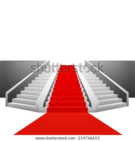 red carpet on polygonal staircase on white background vector illustration