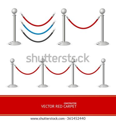 Red Carpet Silver Barrier Constructor. Vector illustration - stock vector