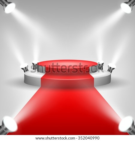 Red carpet to podium stage with spotlights - stock vector