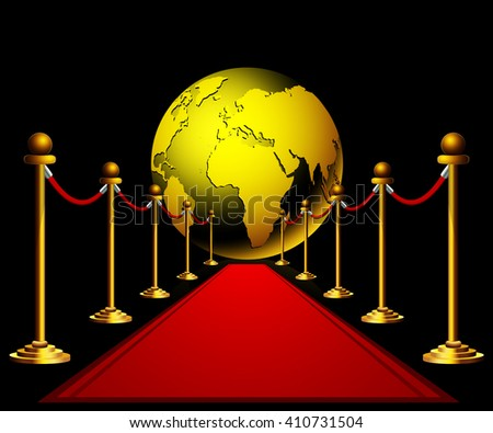 Red carpet to the golden earth globe on dark background - stock vector