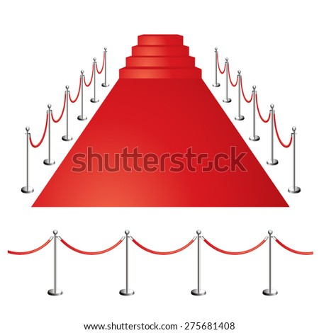 Red carpet with ladder - stock vector