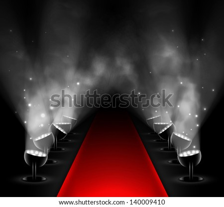 Red carpet with spotlights. Eps 10 - stock vector