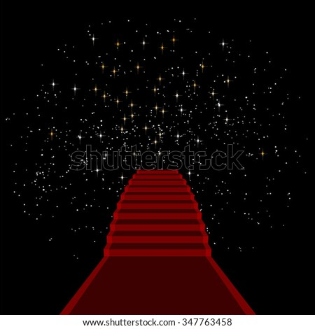 Red carpet with stairs on starry sky background, eps10 vector - stock vector