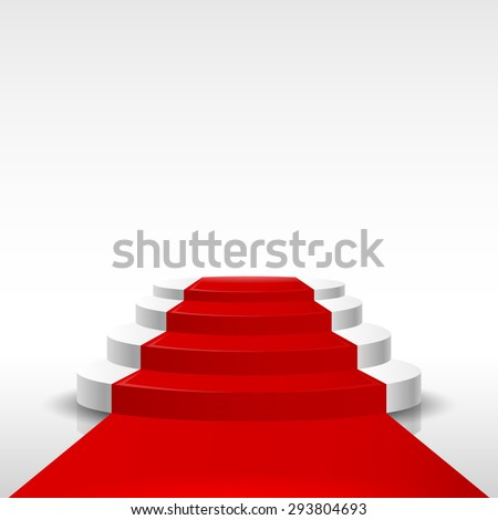 Red carpet with steps on a light background. Vector illustration of a pedestal.