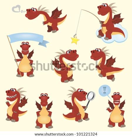 Red cartoon dragon set - stock vector