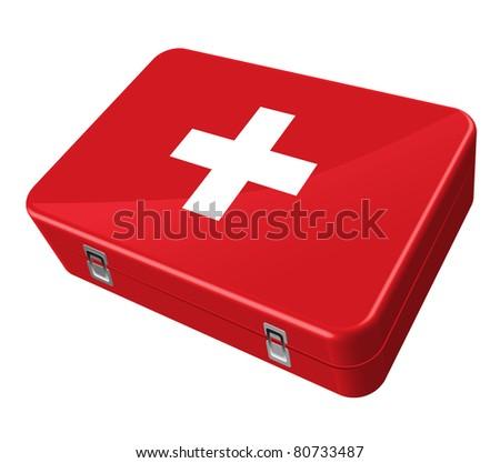 red case, white cross - stock vector