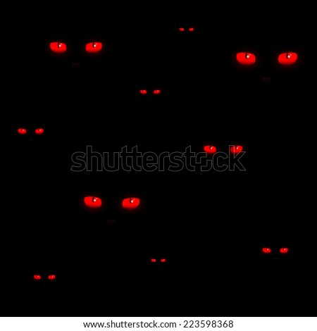 Red cat eyes Halloween pattern vector - stock vector