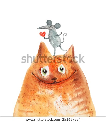 Red cat with mouse with heart smile. Watercolor. Vector - stock vector