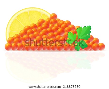 red caviar with lemon and parsley vector illustration isolated on white background - stock vector