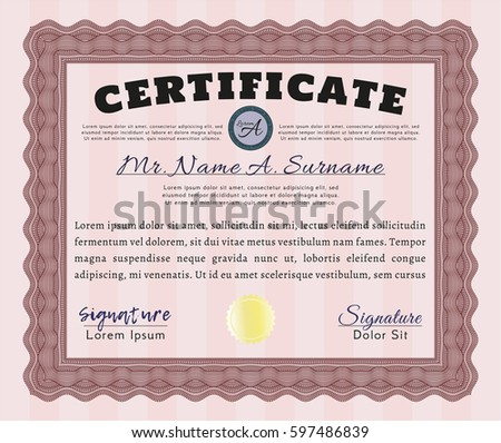Red Certificate Diploma Or Award Template. Retro Design. Vector  Illustration. With Guilloche Pattern  Certificate Award Template
