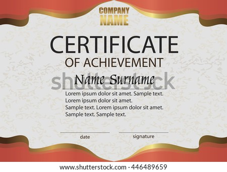 Red certificate achievement reward winning competition stock red certificate of achievement reward winning the competition award winner horizontal template yadclub Image collections