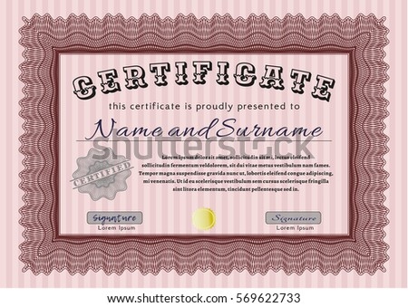 Red certificate template customizable easy edit stock vector red certificate template customizable easy to edit and change colors with complex linear yelopaper Images