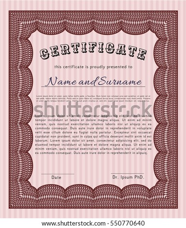 Red Certificate template or diploma template. Perfect design. Vector illustration. With complex background.