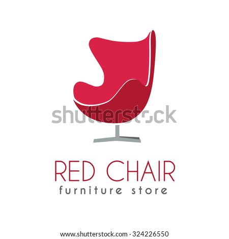 Red Chair Business sign vector template for furniture store, home decor boutique, furniture design. Egg shape chair silhouette icon. Corporate web site element. Sample text. Layered editable design - stock vector