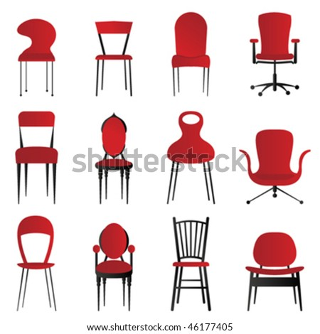 red chairs - stock vector