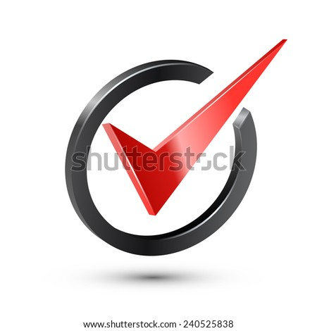 Red check mark in black circle. Realistic vector illustration - stock vector