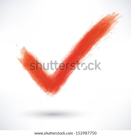 Red check mark sign with gray shadow on white background. Drawing created in ink sketch watercolor grungy texture handmade technique. Hand made vector illustration clip-art design element 10 eps - stock vector